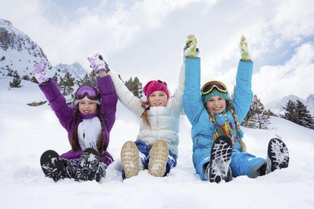 Three girls on snow day